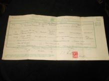 ANTIQUE MARRIAGE CERTIFICATE 1919 LONDON 1d RED STAMP BORGER + SAUNDERS IRELAND